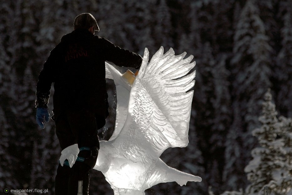 Konkursowe rzezbienie w lodzie- Lake Louise, Alberta