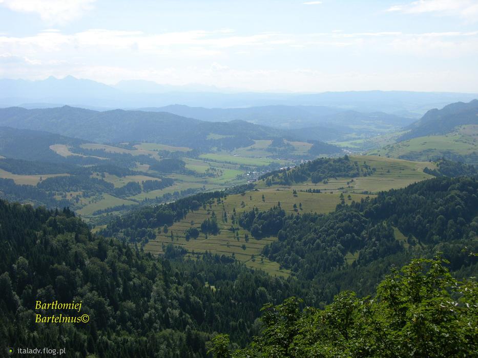 Pieniny, Widoki ze szczytu Wysoka (1050 m n.p.m.), 23.07.2016.