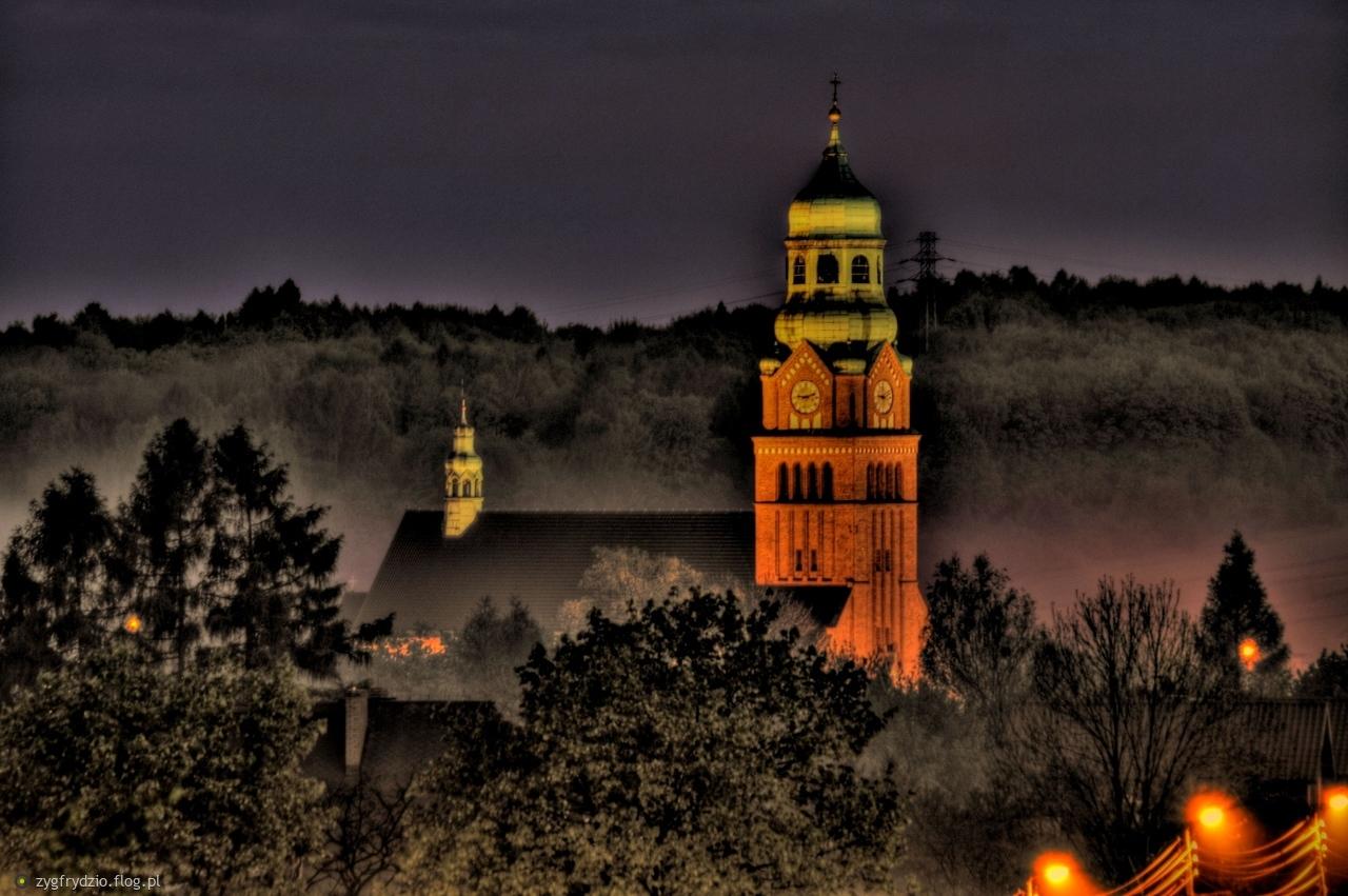 Wieża kościoła w Bobrownikach Śląskich