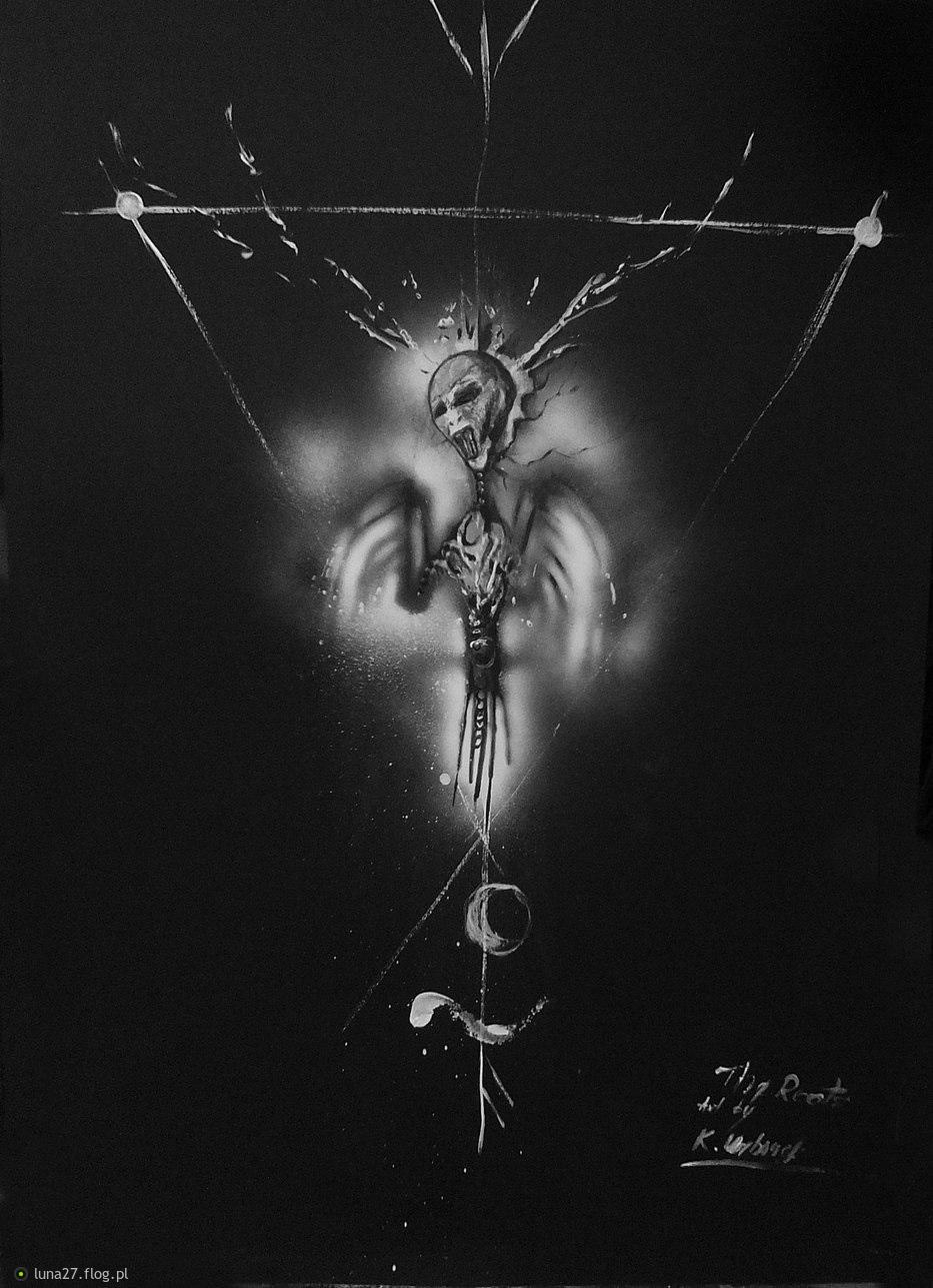 Metamorphosis- The Roots...II /2017 Mixed media on black canson. © Katarzyna Urbanek